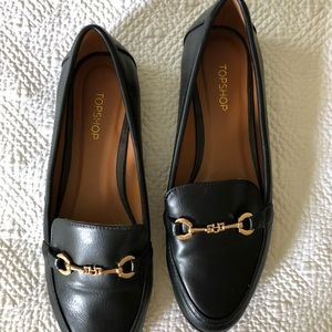 Topshop black and gold loafers with buckle